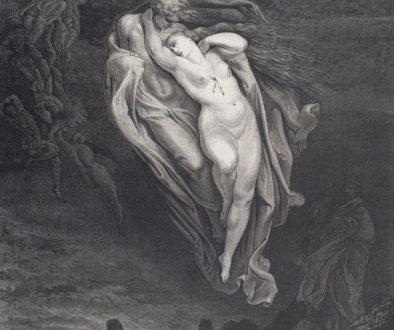 Gustave Doré, Divina Commedia, Inferno canto V, Le anime di Paolo e Francesca volano unite attirando l'interesse di Dante